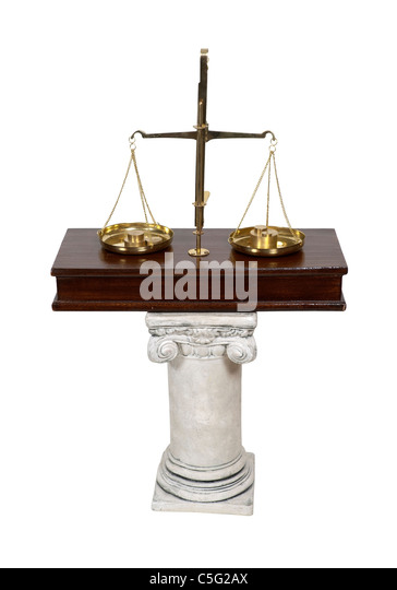 White stone formal pedestal for raising up an item of importance such as a scale for measuring worth - path included - Stock Image
