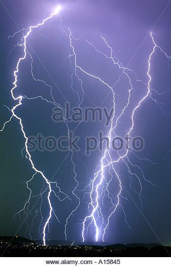 Lightning Sabino Canyon Foothills VT - Stock Image