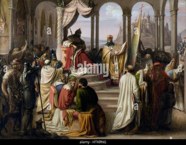 Johann Leberecht Eggink - Prince Vladimir chooses a religion in 988.(A religious dispute in the Russian court) - Stock Image