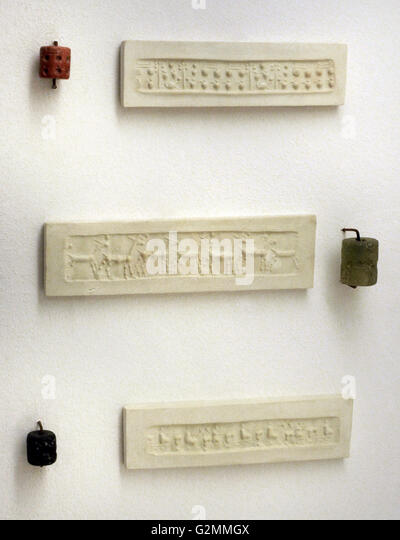 Envelope of the Ur III Period with an impression of a Cylinder seals. (22nd-21st BC). The State Hermitage Museum. - Stock Image