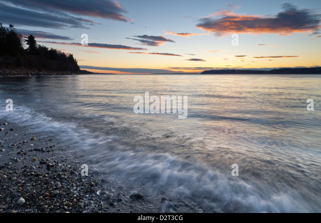 Sunset over the Puget Sound, Mukilteo, Washington, USA - Stock-Bilder