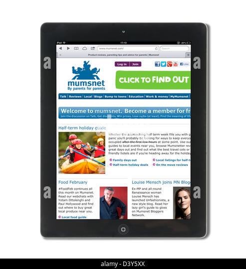 Mumsnet, the UK parenting site, viewed on a 4th generation iPad - Stock Image