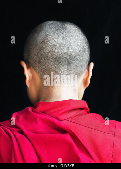 Portrait of a Tibetan nun/monk. Mcleod Ganj,Dharamsala,India - Stock Image