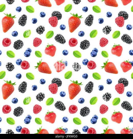Berries pattern. Seamless background with strawberry, blackberry, raspberry and blueberry fruits isolated on white - Stock Image