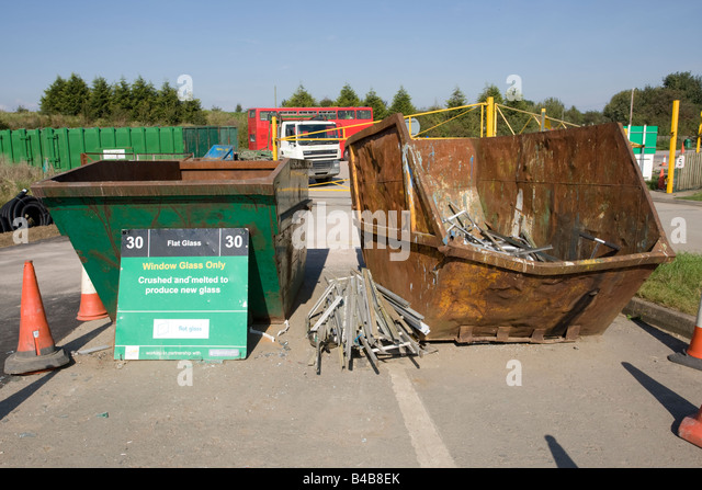 Window glass recycling skip domestic site Wingmoor Farm Stoke Orchard Cheltenham UK - Stock Image