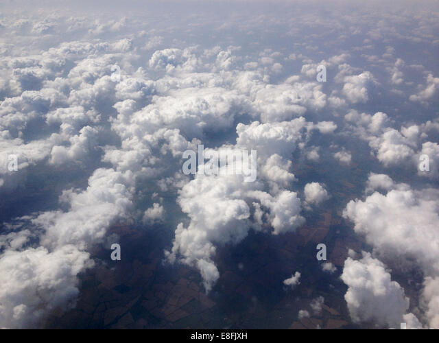 Denmark, Cumulus clouds from above - Stock Image