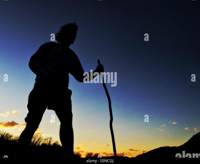 Young man hiking, Harpers Ferry West Virginia - Stock Image