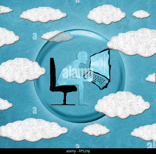 cloud computing concept digital illustration - Stock Image