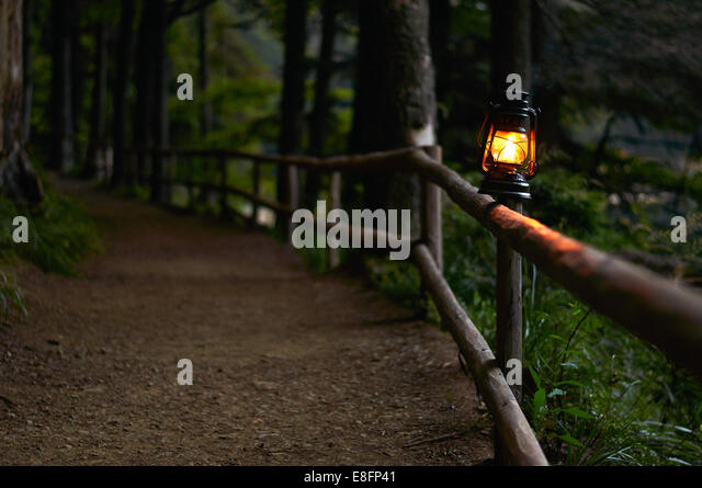 Illuminated oil lamp on fence along woodland path - Stock Image