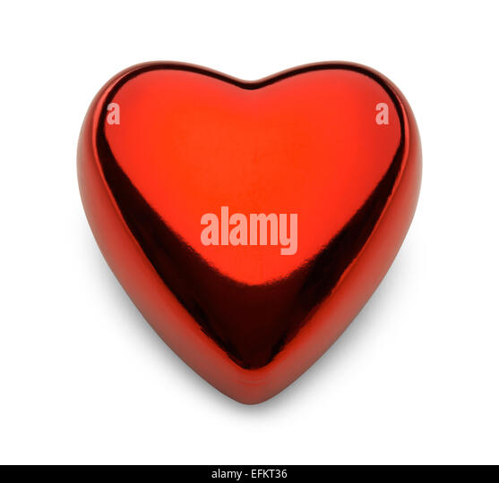 Metal Valentine Reflective Heart Isolated on White Background. - Stock Image