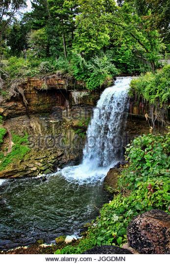 Waterfall Minnehaha Falls in Minnesota - Stock Image