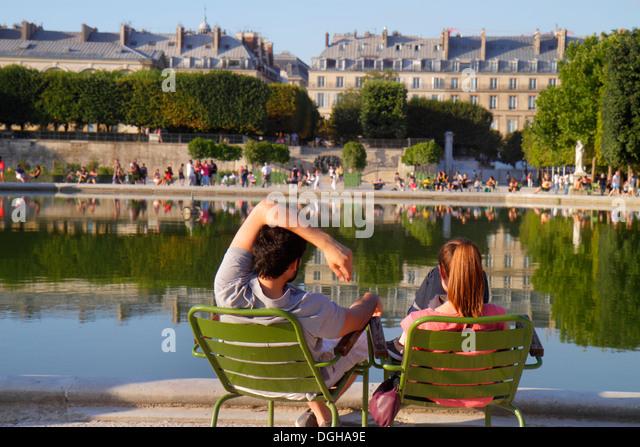 Paris France Europe French 8th arrondissement Place de la Concorde Tuileries Garden Jardin des Tuileries park trees - Stock Image