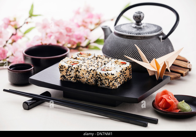 Sushi rolls with soy sauce and ginger - Stock Image