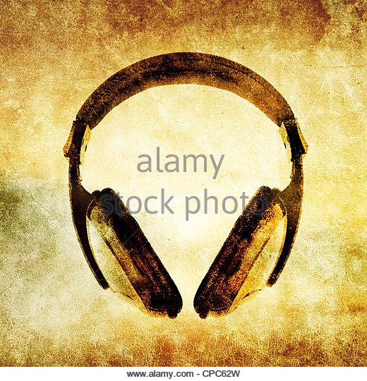 grunge headphones - Stock Image