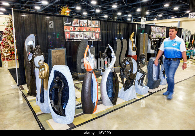 Florida Miami Beach Convention Center centre Home Design and Remodeling Show sculptures sale display - Stock Image