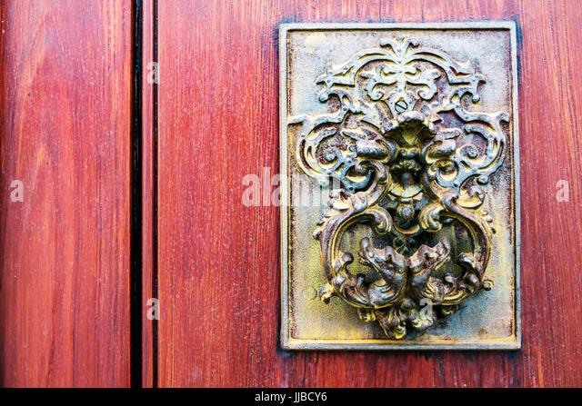 Charleston South Carolina SC Historic Downtown door knocker antique fancy - Stock Image