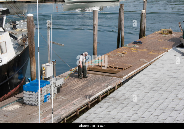 Harbor Scene in The Gut at South Bristol, Maine - Stock Image