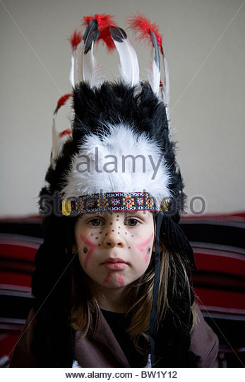 A girl dressed as an Indian - Stock Image