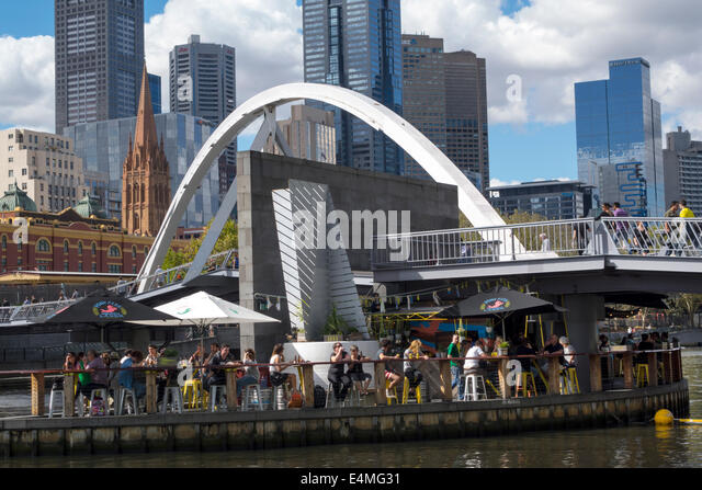 Melbourne Australia Victoria Central Business District CBD Yarra River high rise buildings skyscrapers Southbank - Stock Image