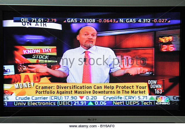 Miami Beach Florida television TV flat panel screen monitor cable channel CNBC business stock market Jim Cramer - Stock Image