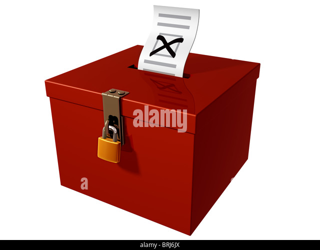 Isolated illustration of a stylized ballot box - Stock Image