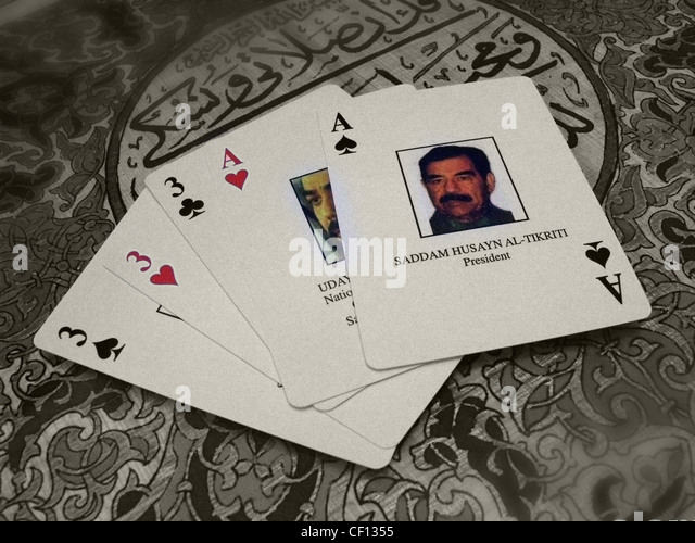 Saddam Hussein playing cards Ace - Stock Image