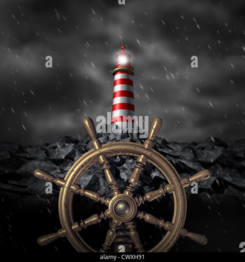 Leadership Decisions and strategy navigating a through a storm and troubled business challenges with wind and rain - Stock Image