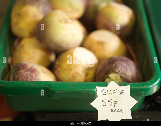 Container Of Swedes For Sale - Stock Image