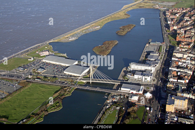 aerial view of the Marine Parade Bridge, Southport Marina and the coast - Stock Image