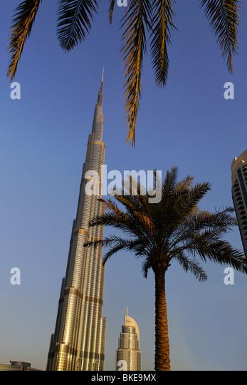 Burj Khalifa, highest Skycraper in the World, 828 meter, 2625 feet, Burj Dubai, Dubai United Arab Emirates - Stock Image