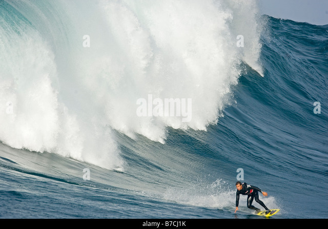 Surfing at Todo Santos Island Mexico - Stock Image