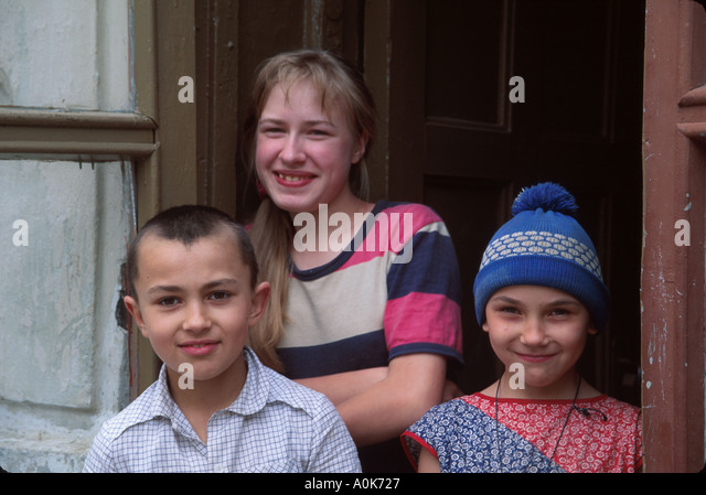 Russia former Soviet Union Pushkin young residents living near Catherine Palace - Stock Image