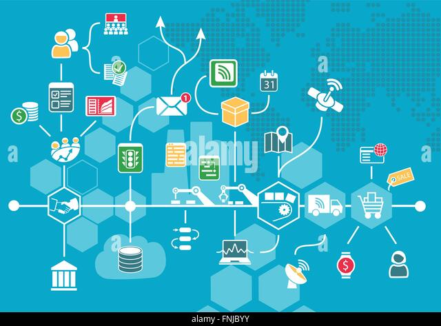 Internet of things (IOT) and digital business process automation concept supporting industrial value chain. Vector - Stock Image