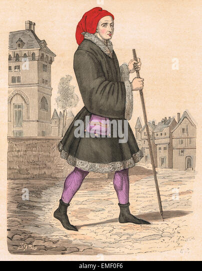 Bourgeois of Paris during the reign of Charles VII of France (15th century) - Stock Image