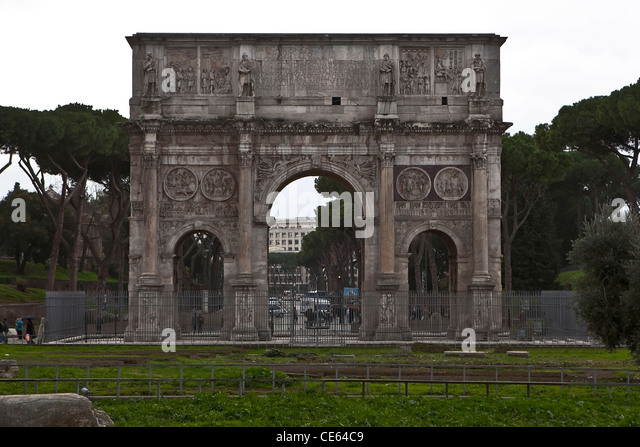 The Arch of Constantine is a three-doors arch next to the Colosseum in Rome, Lazio, Italy. - Stock Image