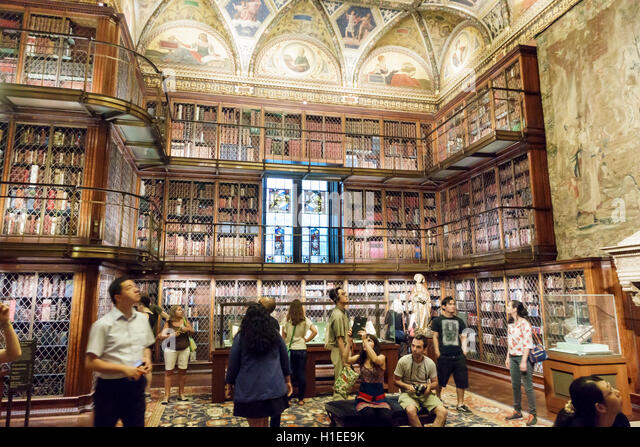 Manhattan New York City NYC NY Murray Hill Morgan Library and Museum Pierpont Morgan Library McKim Building books - Stock Image