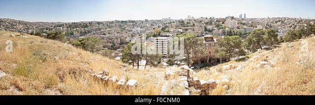 Panorama shot from the Amman Citadel showing the cityscape west of the Jabal al-Qal'a. - Stock Image