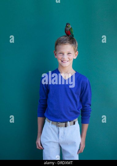 Young boy with pet parrot on head - Stock-Bilder