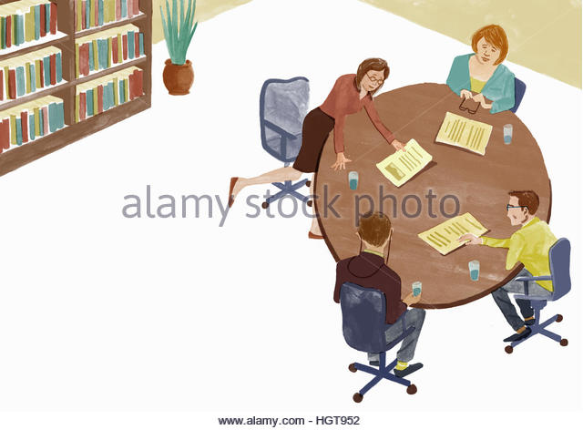 Business people discussing document in meeting - Stock-Bilder