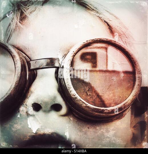 Steampunk boy with goggles - Stock-Bilder