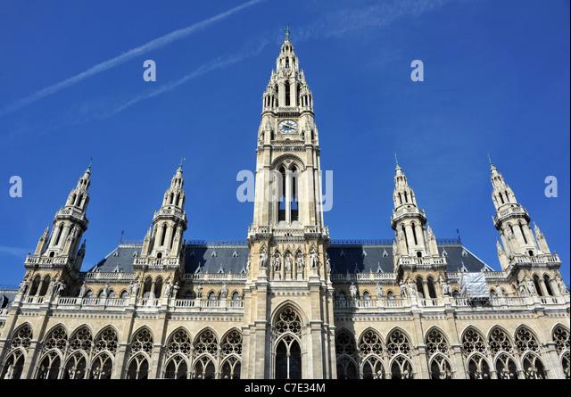 The City Hall or Rathaus Vienna, Austria - Stock Image