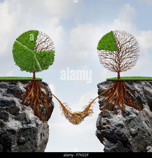 Business agreement concept and global connection financial success symbol as two trees shaped as tree pie charts - Stock-Bilder