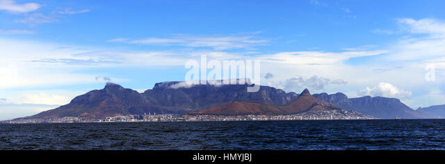 A Panoramic view of Table mountain with the city of Cape Town laying below the mountain. - Stock Image