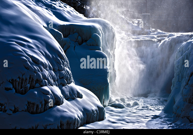 Letchworth State Park Castile New York USA upper falls in winter - Stock Image