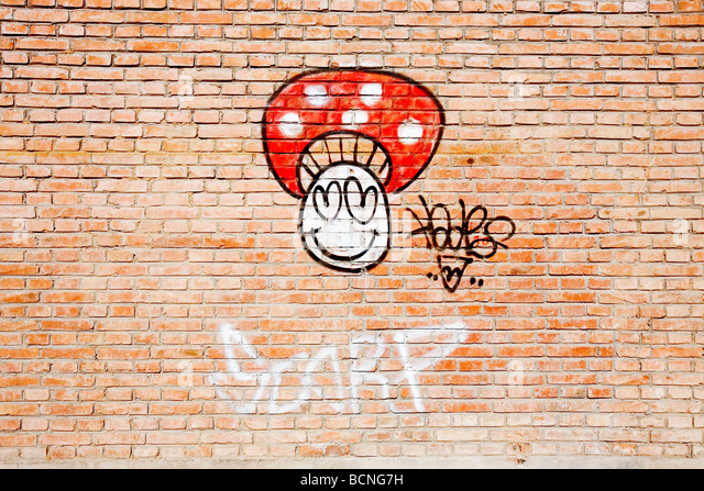 D Art Exhibition Chiang Mai : Graffiti mushroom stock photos