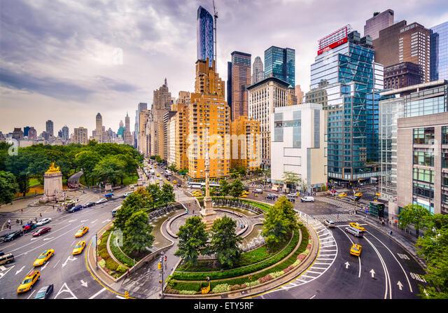 New York City, USA cityscape at Columbus Circle. - Stock Image