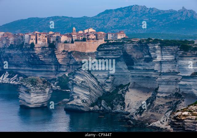 Bonifacio at dawn, Corsica, France - Stock Image