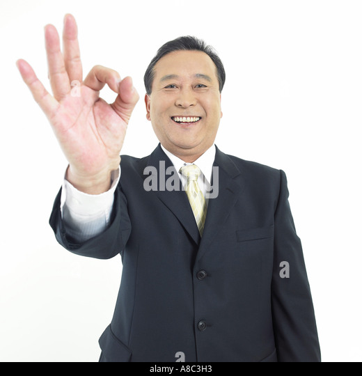 The old A man with hand motion - Stock Image