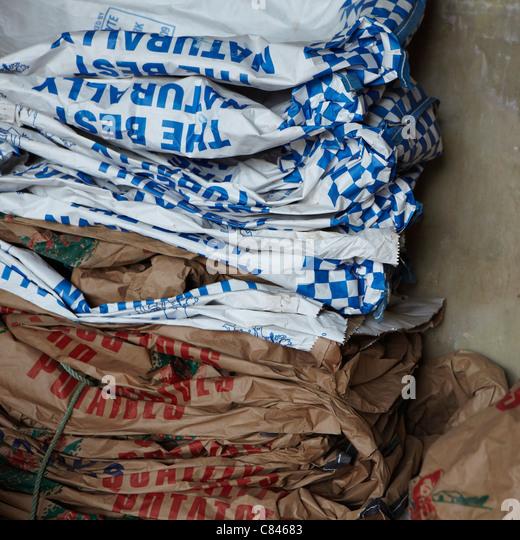 Crushed potato sacks - Stock Image
