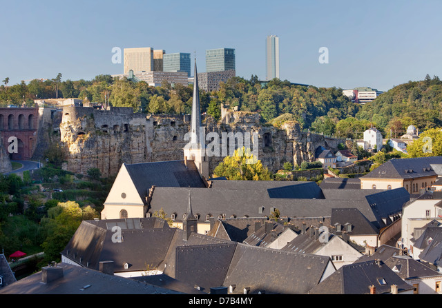 View of the EU buildings in the European quarter, Kirchberg-Plateau, Luxembourg City, Europe - Stock Image